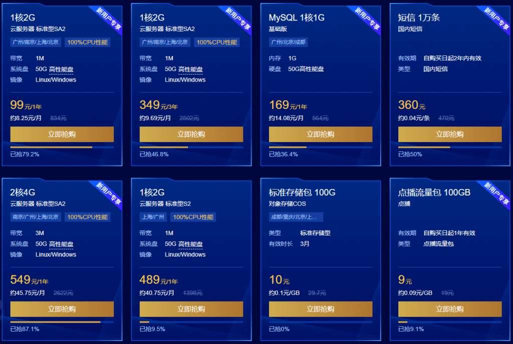 腾讯云服务器最新活动:【限时秒杀】高性能服务器1核2G首年99元